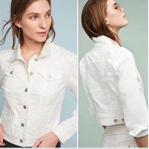 Anthropology White Denim Jacket